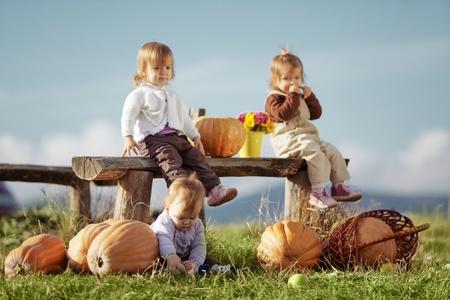 Cute kids having fun at countryside Stock Photo - 8294095