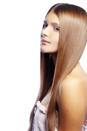 Portrait of young beautiful woman with long glossy hair Stock Photo - 8294366