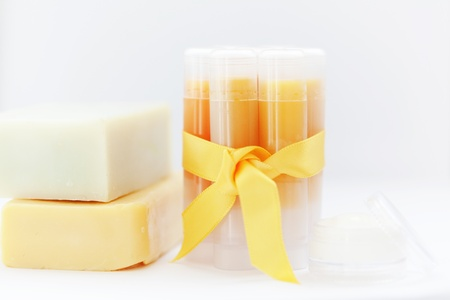 Homemade set of lip balms Stock Photo