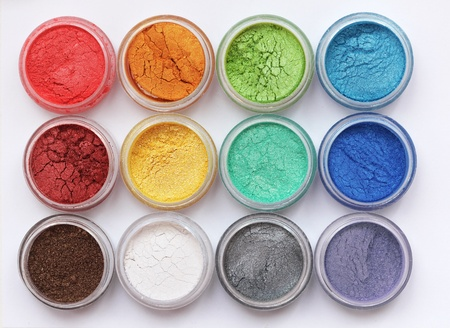 Set of colorful mineral eyeshadows photo