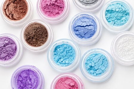 Set of colorful makeup powder eyeshadow photo