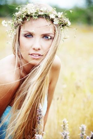 Young beautfiul woman walking outdoors at summer Stock Photo