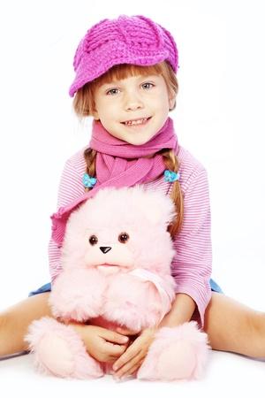 Fashion little girl studio series over white photo