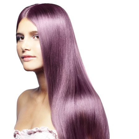 Portrait of young beautiful woman with colored glossy hair Stock Photo