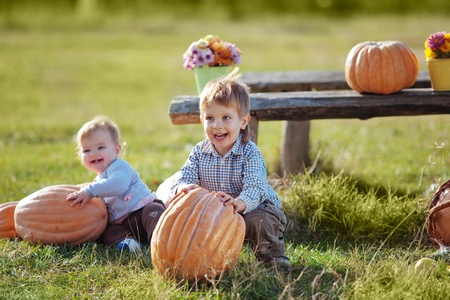 Cute kids having fun at countryside Stock Photo - 10588367