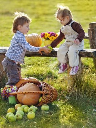 farm boys: Cute kids having fun at countryside