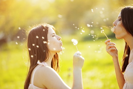 Two young girls playing with dandelions outdoor