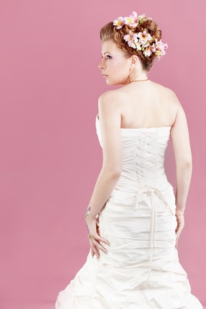 Studio portrait of beautiful bride photo