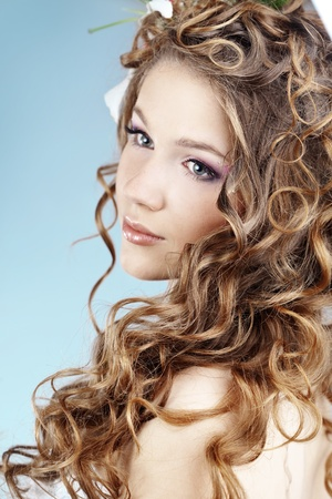 curly hair model: Studio portrait of beautiful bride Stock Photo