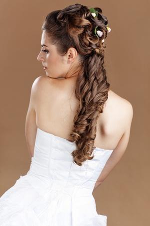 wedding hairstyle: Studio portrait of beautiful bride Stock Photo