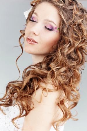 bridal makeup: Studio portrait of beautiful bride Stock Photo