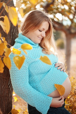 Portrait of beautiful pregnant woman walking in autumn park photo