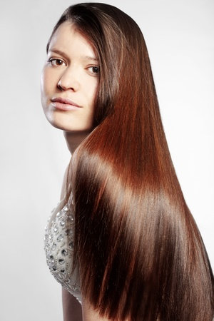 Portrait of young beautiful woman with perfect hair Stock Photo - 12069414