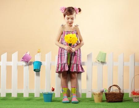 Studio portrait of cute kid girl Easter series Stock Photo - 12935144