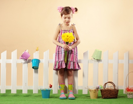 Studio portrait of cute kid girl Easter series Stock Photo