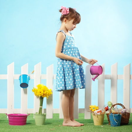 Studio portrait of cute kid girl Easter series Stock Photo - 12935138