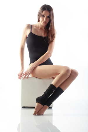 graceful: Portrait if slim beautiful girl studio series