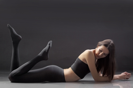 tights: Portrait if slim beautiful girl studio series