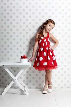 pinup girl: Portrait of little pin-up girl Stock Photo