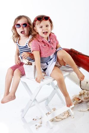 Studio portrait of children sea theme photo