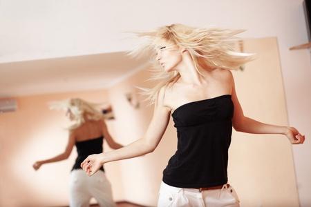 break dance: Teenage girl dancing hip-hop in gym classroom