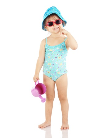 Studio series of cute fashion children wearing swimwear isolated on white background photo