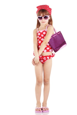 Summer fashion girl wearing red spotted swimsuit studio series Stock Photo