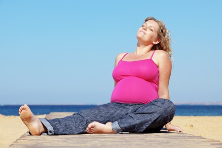 Portrait of beautiful pregnant woman at the beach Stock Photo - 13355489