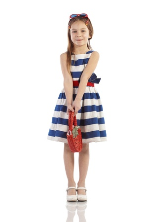 niño modelo: Retrato del pequeño pin-up tema de moda mar chica