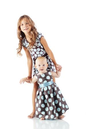 sundress: Cute fashion kids isolated on white background