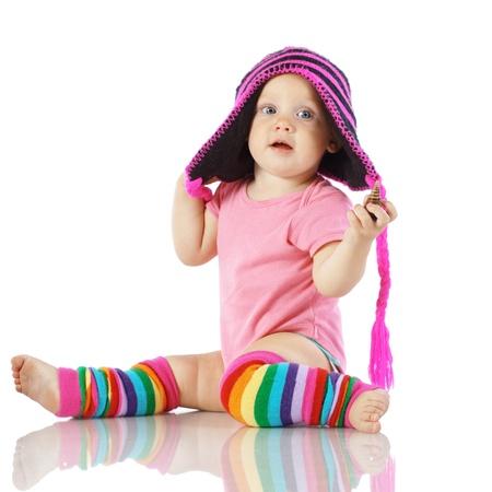乳幼児: 白い背景で隔離かわいい幼児 写真素材