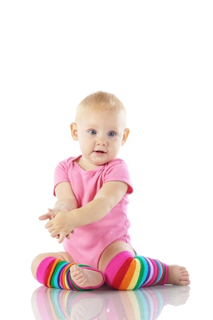 warmers: Cute toddler isolated on white background