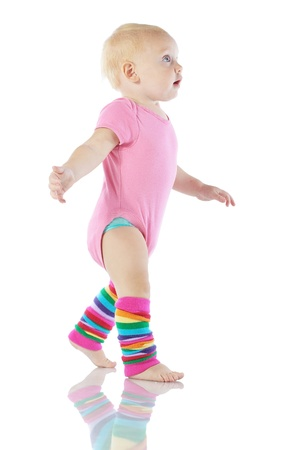 leg warmers: Cute toddler isolated on white background