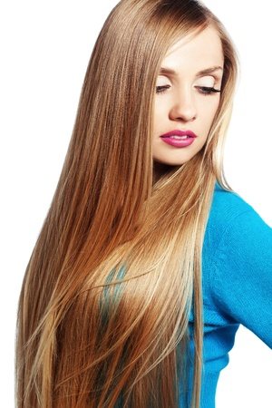 Portrait of young beautiful woman with long strong blond hair Stock Photo - 16523194