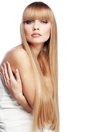 long shot: Portrait of beautiful girl with perfect long shiny blond hair studio shot isolated on white background