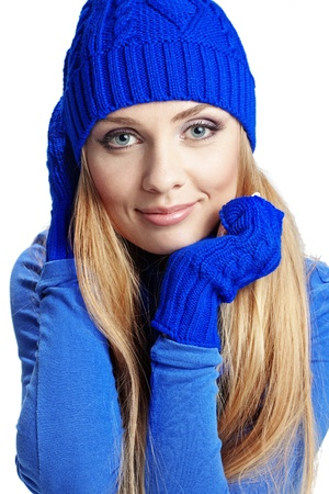 Portrait of beautiful young girl wearing winter clothing studio shot Stock Photo - 16637464