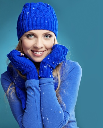 Portrait of beautiful young girl wearing winter clothing studio shot Stock Photo - 16637466