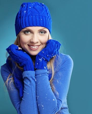 Portrait of beautiful young girl wearing winter clothing studio shot Stock Photo - 16637466