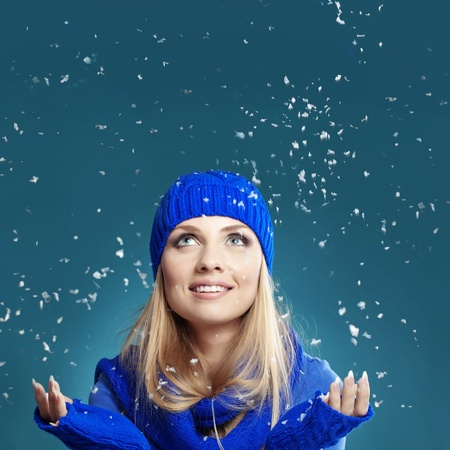 Portrait of beautiful young girl wearing winter clothing studio shot Stock Photo - 16637456