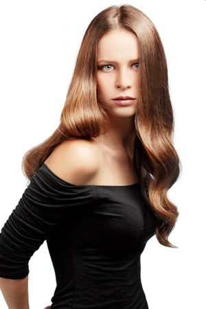 Portrait of young beautiful woman with long glossy hair Stock Photo - 16637469