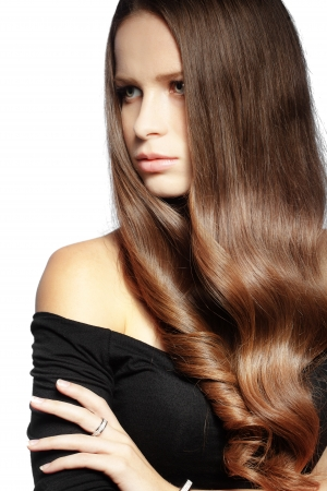 Portrait of young beautiful woman with long glossy hair Stock Photo - 16637443