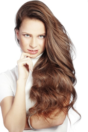 Portrait of young beautiful woman with long glossy hair Stock Photo - 16637433
