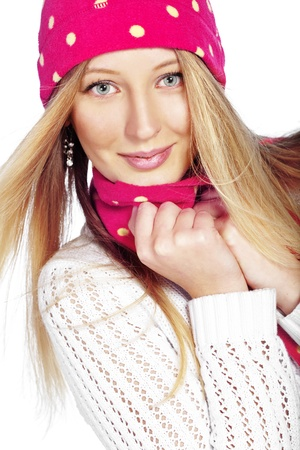 Portrait of the beautiful teenage girl wearing warm winter clothing Stock Photo - 16717693