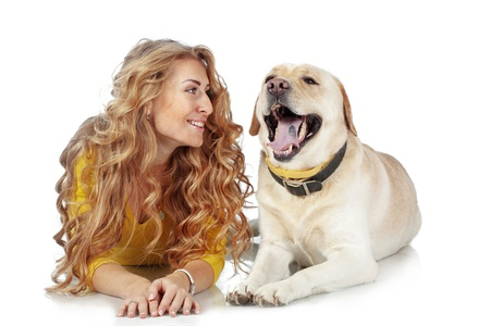 Portrait of happy girl with her dog isolated on white background Stock Photo - 16756614