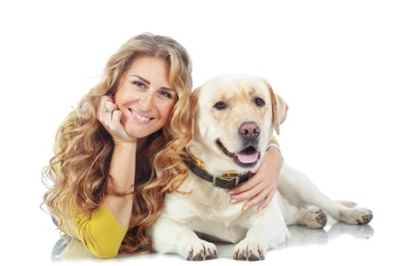 Portrait of happy girl with her dog isolated on white background Stock Photo - 16756616