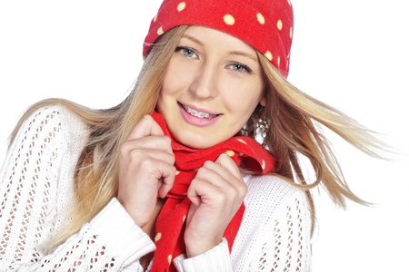 Portrait of the beautiful teenage girl wearing warm winter clothing Stock Photo - 16881755