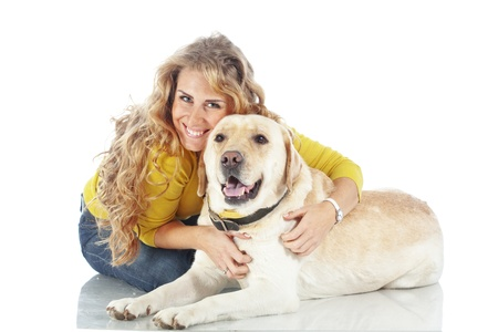trusting: Portrait of happy girl with her dog isolated on white background