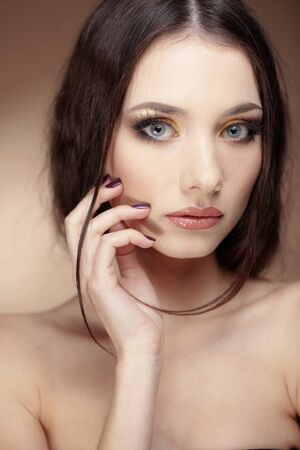 Portrait of beautiful face with perfect makeup photo