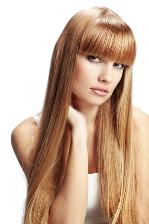 fringe: Portrait of beautiful girl with perfect long shiny blond hair studio shot isolated on white background