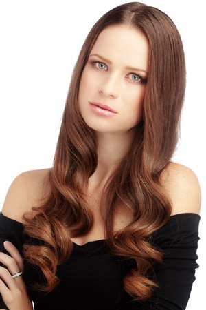 Portrait of young beautiful woman with long glossy hair Stock Photo - 17333060